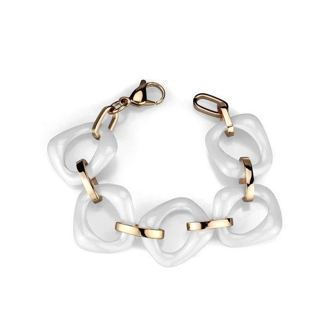 White Ceramic / Ion Rose Gold Plated Big Link Bracelet ~ Stainless Steel
