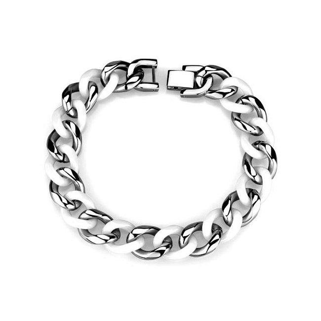 Unisex White Ceramic Link Bracelet ~ Stainless Steel