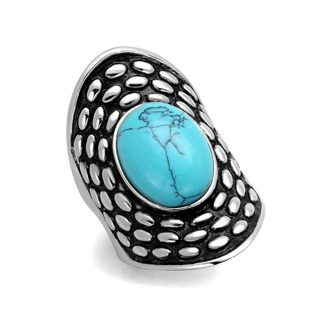 Elegant Vintage Style Synthetic Turquoise Ring ~ Stainless Steel