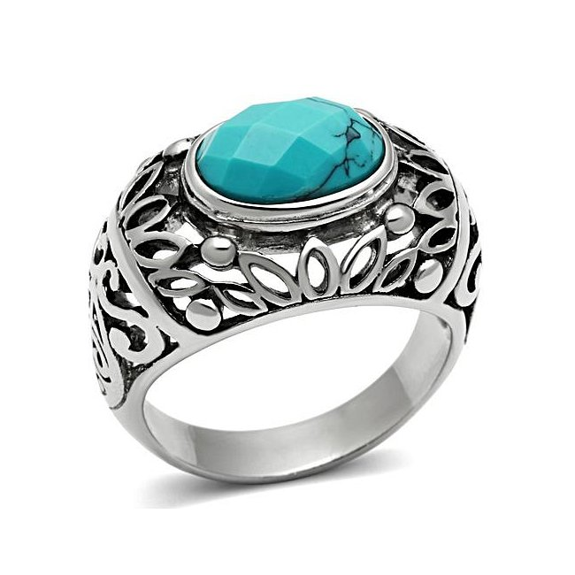 Synthetic Turquoise Oval Ring ~ Stainless Steel