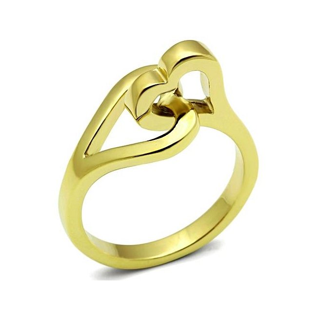 Lovely Unique Ion Plated Gold Double Heart Ring ~ Stainless Steel