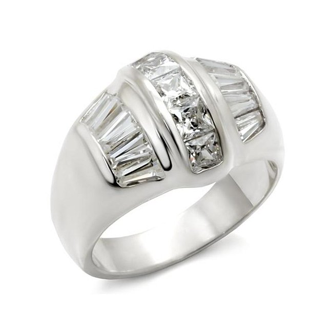 Clear Cubic Zirconia Band Ring ~ Sterling Silver