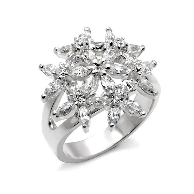 Lovely Clear Cubic Zirconia Flower Ring ~ Sterling Silver