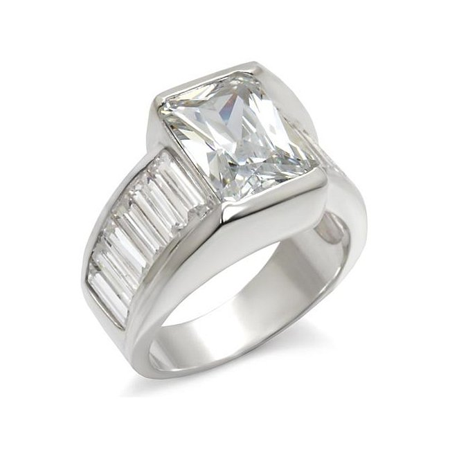 Square Solitaire Cubic Zirconia with Accents ~ Sterling Silver