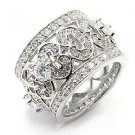 Breathtaking Pave Cubic Zirconia Eternity Ring ~ Sterling Silver