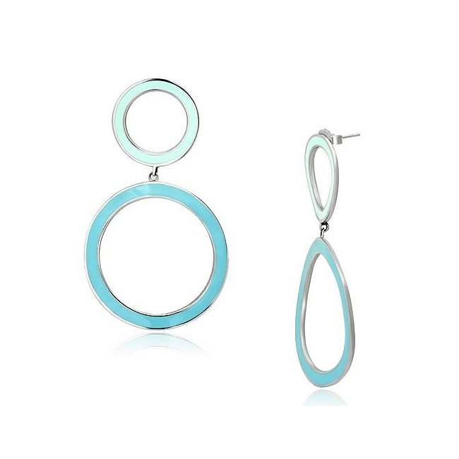 Blue Double Circle Fashion Earrings ~ Stainless Steel