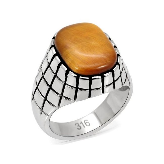 Synthetic Topaz Tiger's Eye Ring ~ Stainless Steel