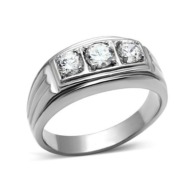 3 Cubic Zirconia Ribbed Band Ring ~ Stainless Steel
