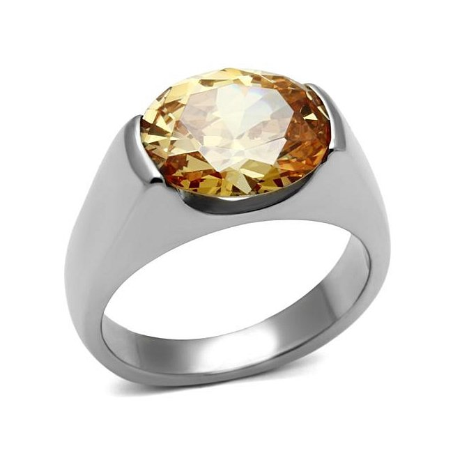 Sparkling Champagne Cubic Zirconia Topaz Solitaire Ring ~ Stainless Steel Silver