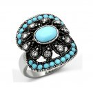 Fashionable Aqua Blue Synthetic Glass Statement Ring ~ Stainless Steel Silver