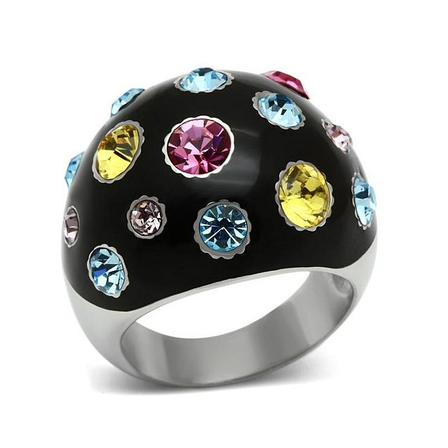 Black Multi Color Crystal Black Dome Ring ~ Stainless Steel Silver