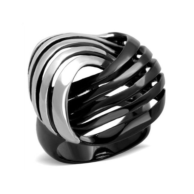 Two-Tone (Black & Silver) Bold Statement Ring ~ Stainless Steel