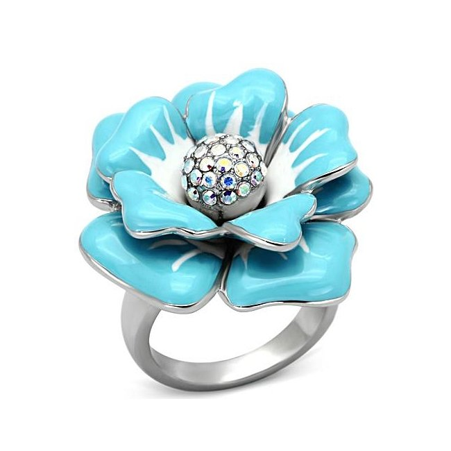 Beautiful Blue & White Rose Flower Multi Color Crystal Ring ~ Stainless Steel