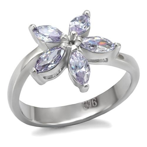 Light Amethsyt Cubic Zirconia Flower Ring ~ Stainless Steel