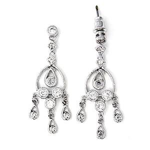 Gorgeous Cublic Zirconia Chandelier Earrings ~ Sterling Silver