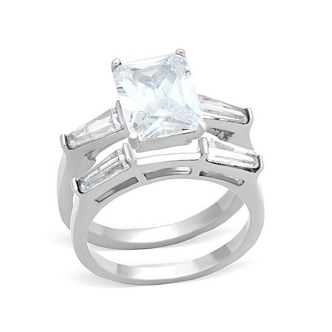 Stunning Rectangular CZ Engagement / Wedding Ring Set ~ Stainless Steel