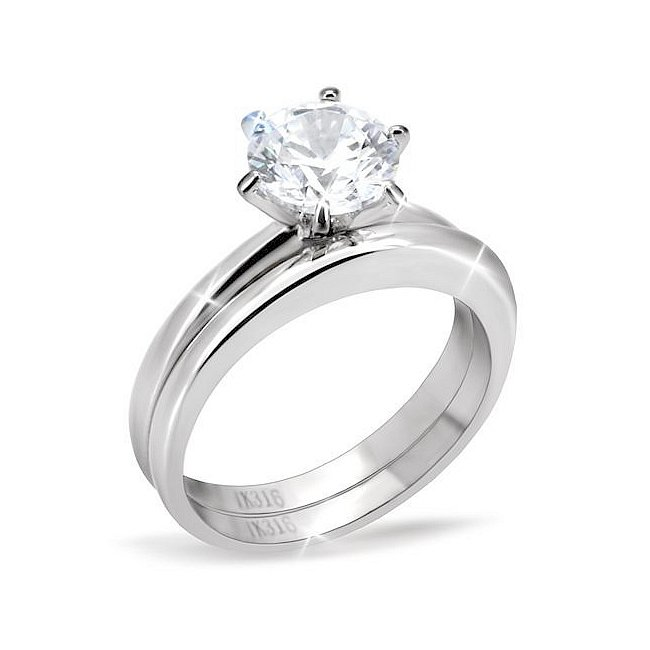 Classic Solitaire CZ Engagement / Wedding Ring Set ~ Stainless Steel