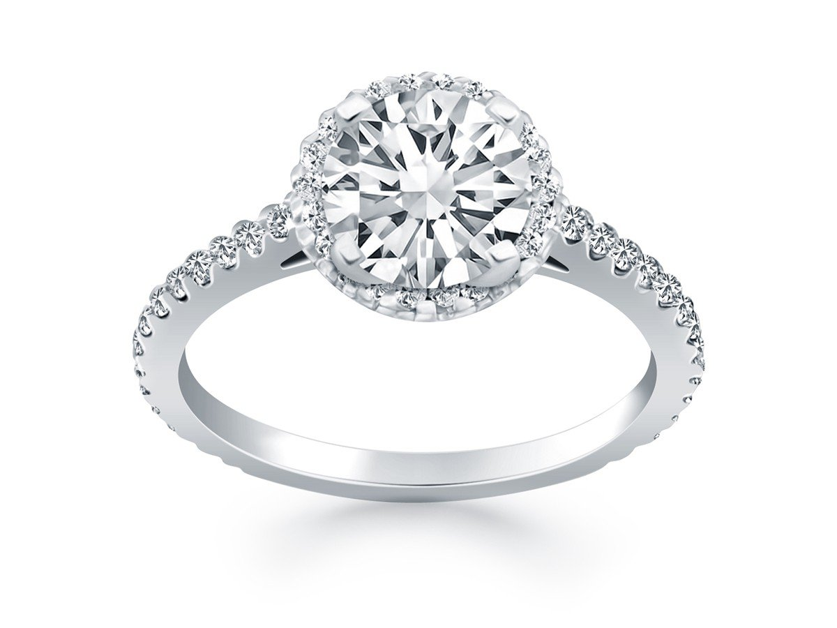 Diamond Halo Engagement Ring with Accent Diamonds 14K White Gold 1.01 Carat