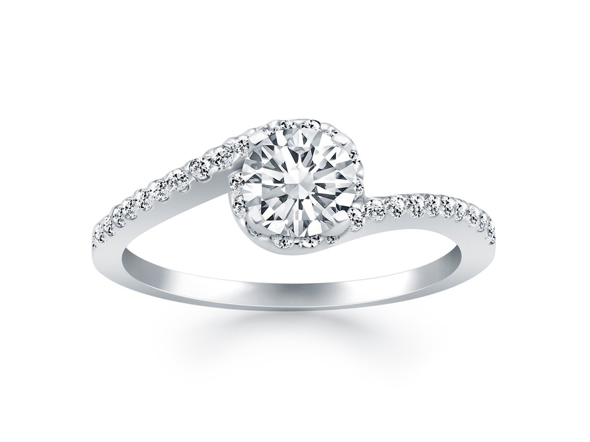 Bypass Swirl Diamond Halo Engagement Ring in 14K White Gold .66 Carats