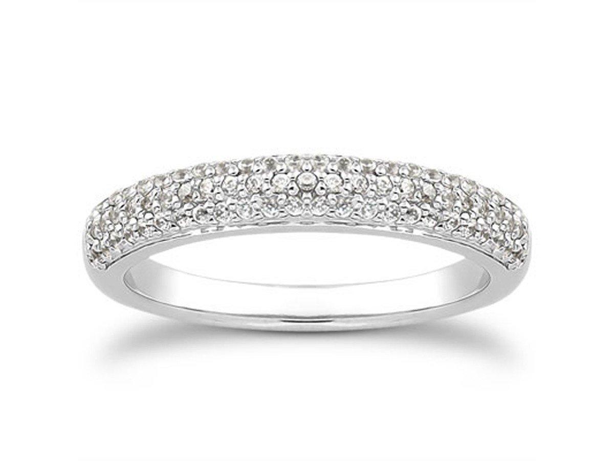 Triple Row Micro-Pave Diamond Wedding Ring Band 14K White Gold .41 Carat