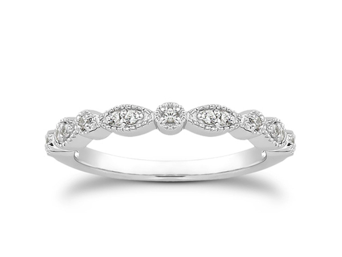 Marquis Pave Diamond Milgrain Wedding Ring Band in 14K White Gold