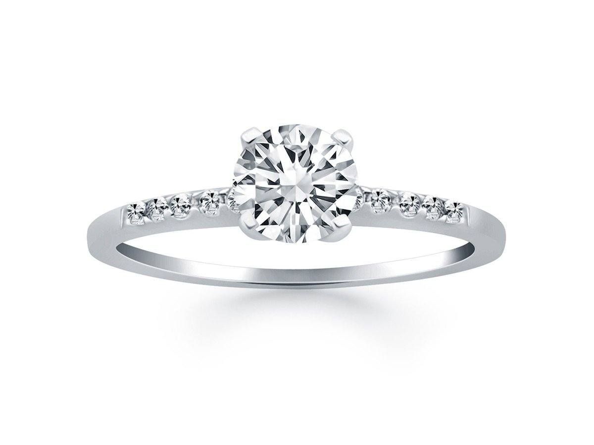 Engagement Ring with Pave Diamond Band Design in 14K White Gold .60 Carats