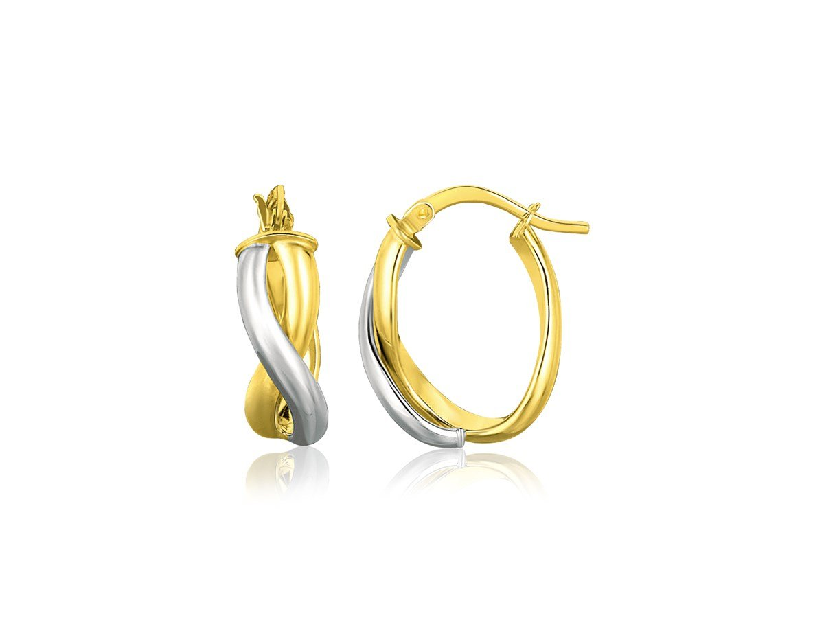 Intertwined Oval Hoop Earrings in 14K Two Tone Yellow Gold & White Gold