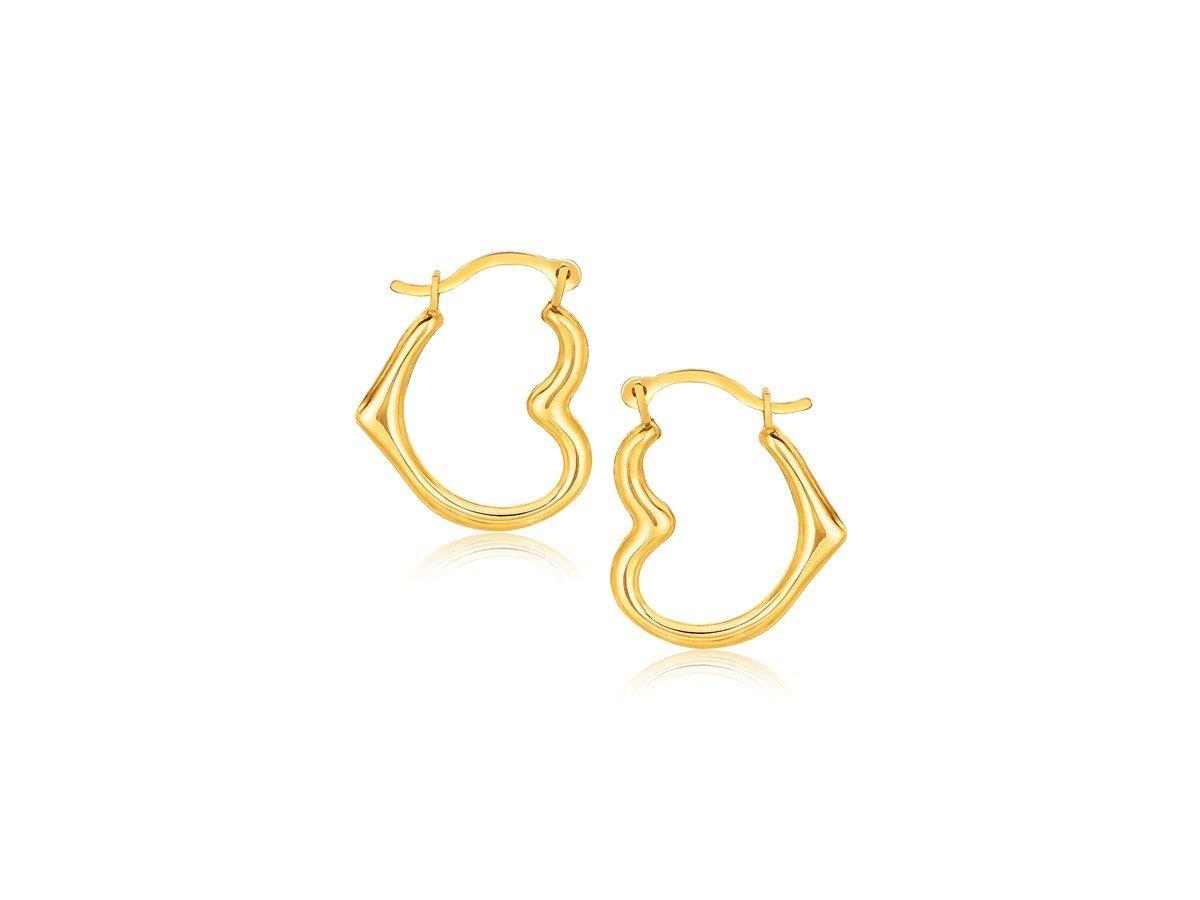 Heart Shaped Hoop Earrings in 10K Yellow Gold