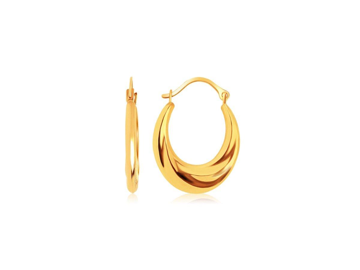 Graduated Oval Hoop Earrings in 14K Yellow Gold