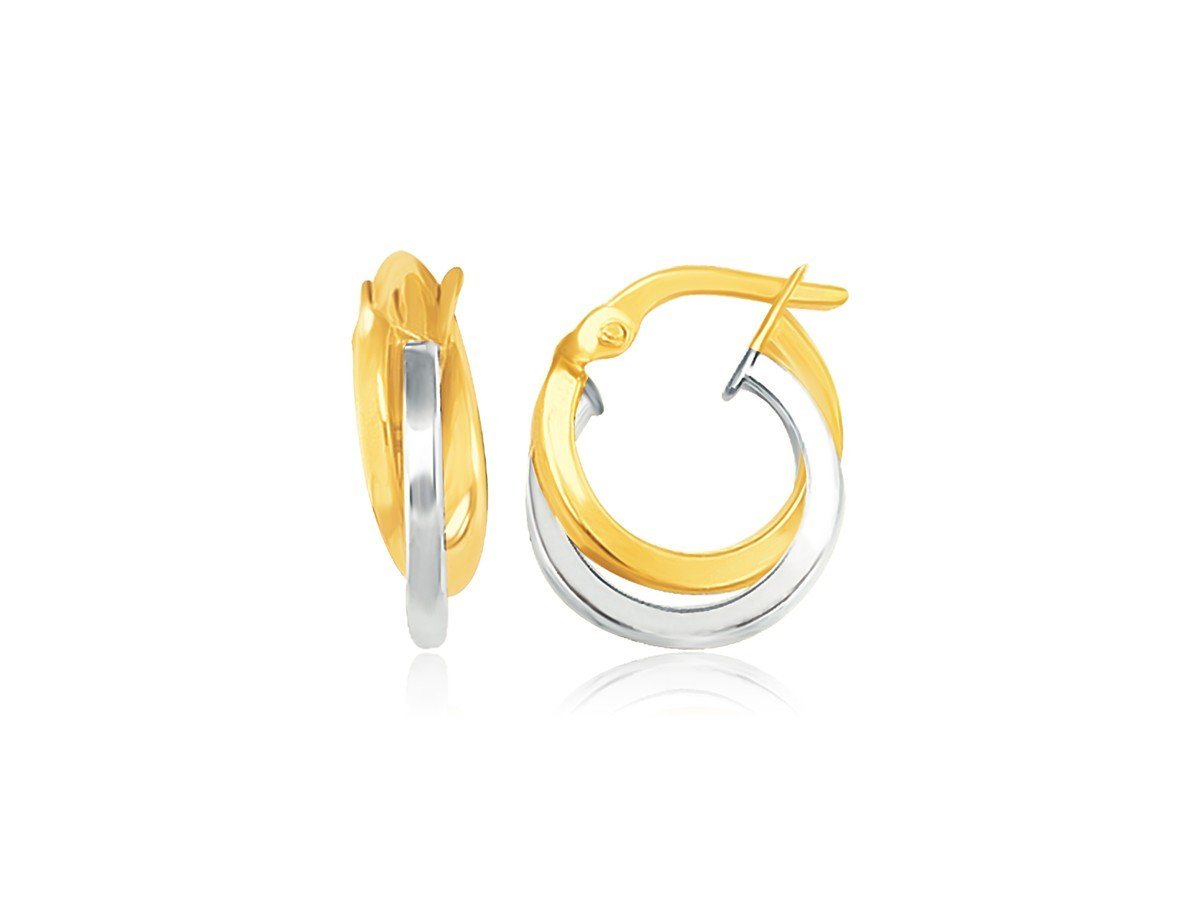 Double Round Hoop Earrings in 14K Two Tone Yellow White Gold