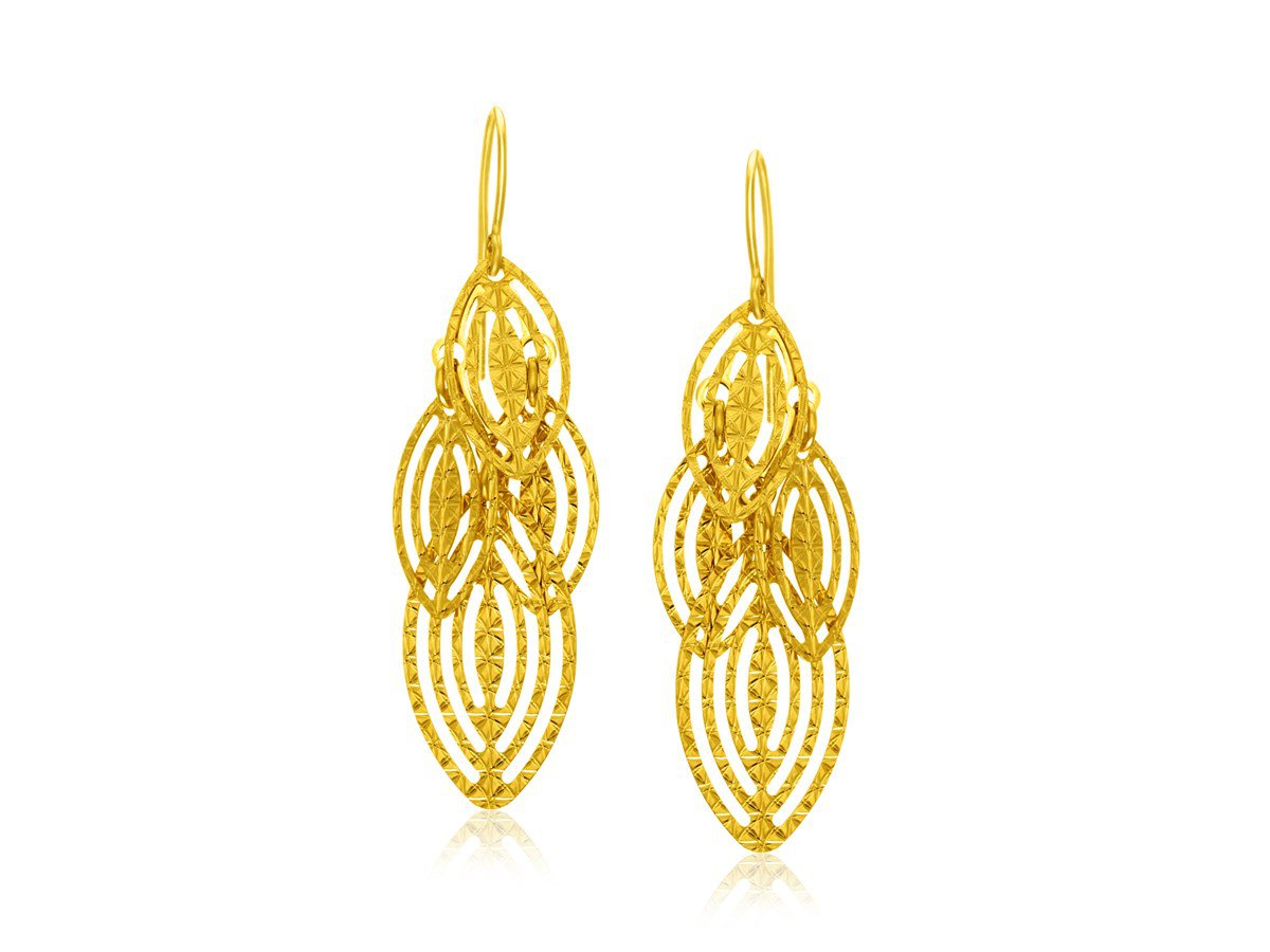 Cascading Textured Marquise Shape Drop Dangle Earrings in 14K Yellow Gold