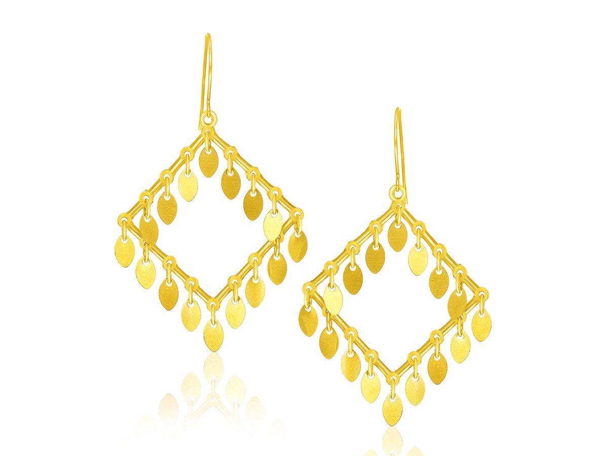 Diamond Shaped Dangle Drop Chandelier Earrings in 14K Yellow Gold