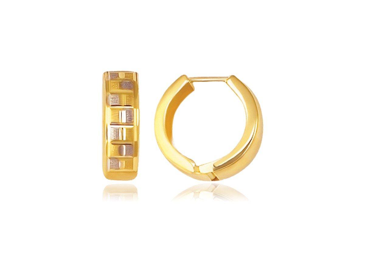 Reversible Textured Hinged Hoop Huggie Earrings in 14K Yellow Gold