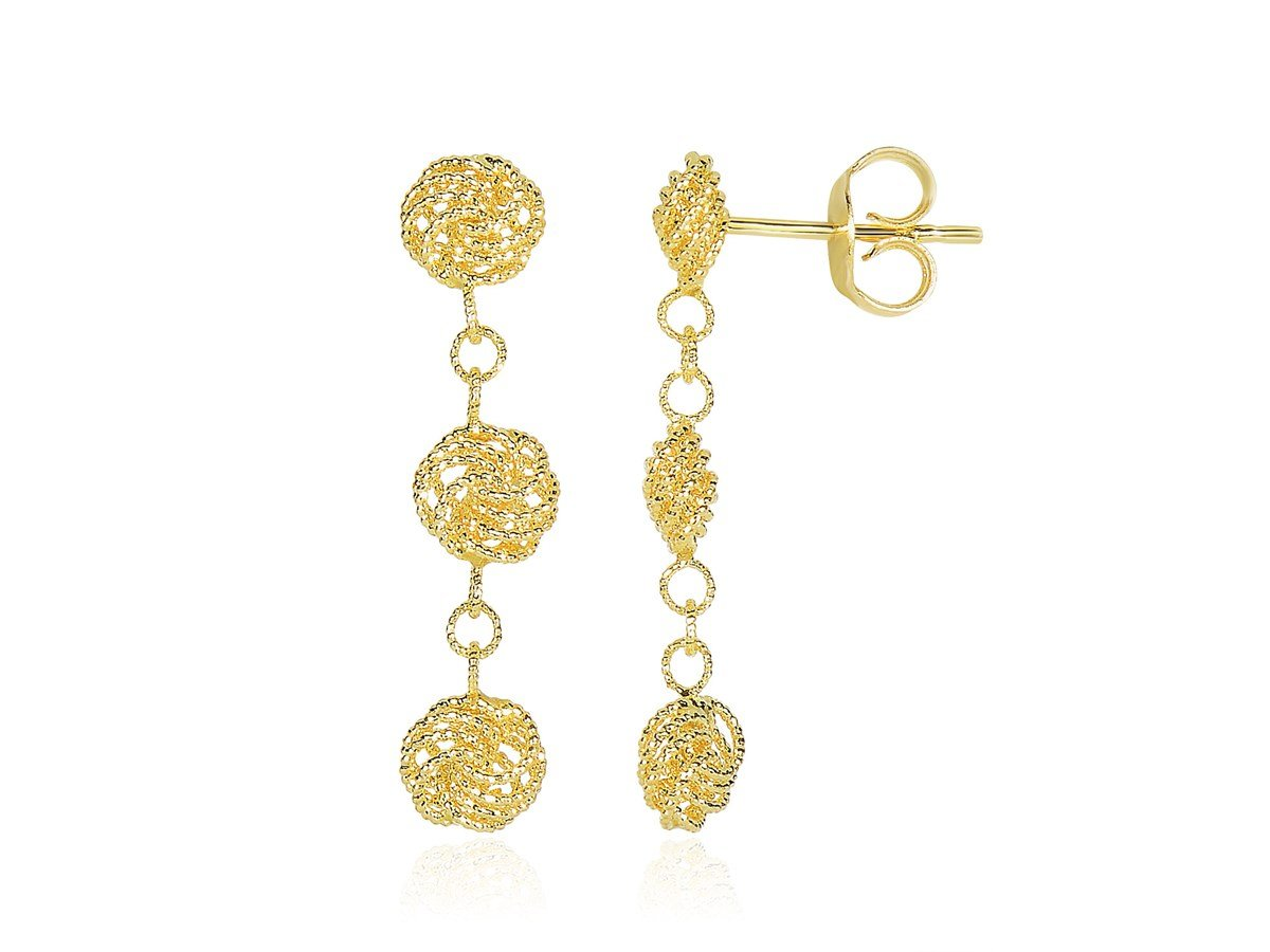Lovely Textured Knot Dangle Drop Earrings in 14K Yellow Gold