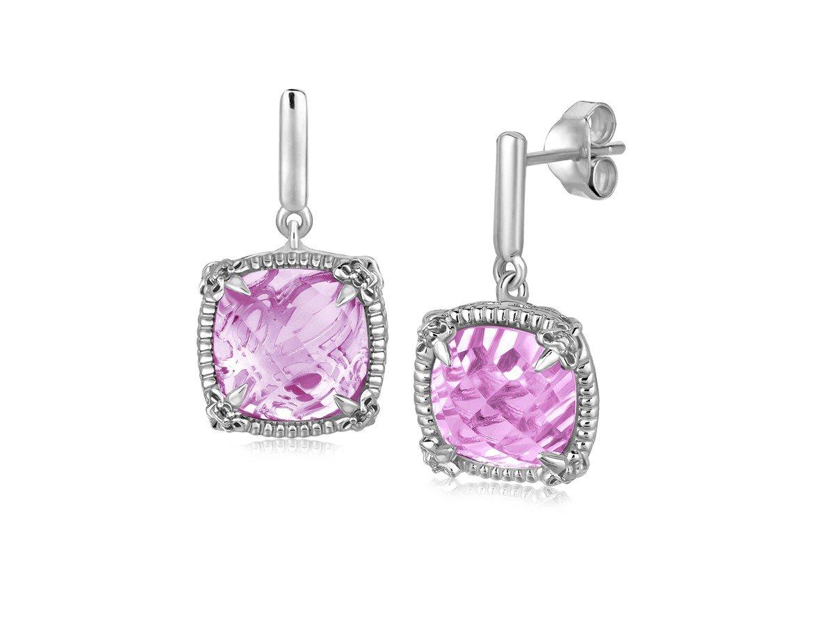 Pink Amethyst and White Sapphires Fleur De Lis Drop Earrings in Sterling Silver