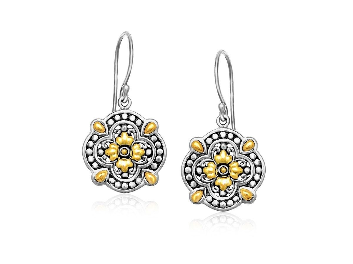 Floral Shape Vintage Look Drop Earrings 18K Yellow Gold and Sterling Silver