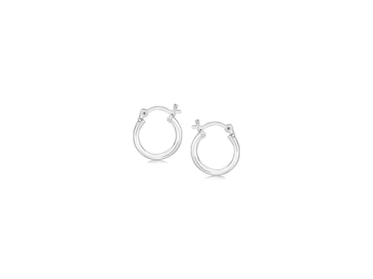 Thin Polished Hoop Earrings in Rhodium Plated Sterling Silver (10mm)