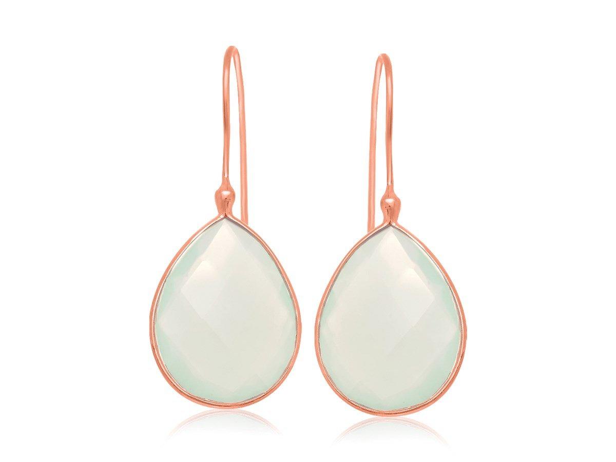 Aqua Chalcedony Teardrop Earrings in Rose Gold Plated Sterling Silver