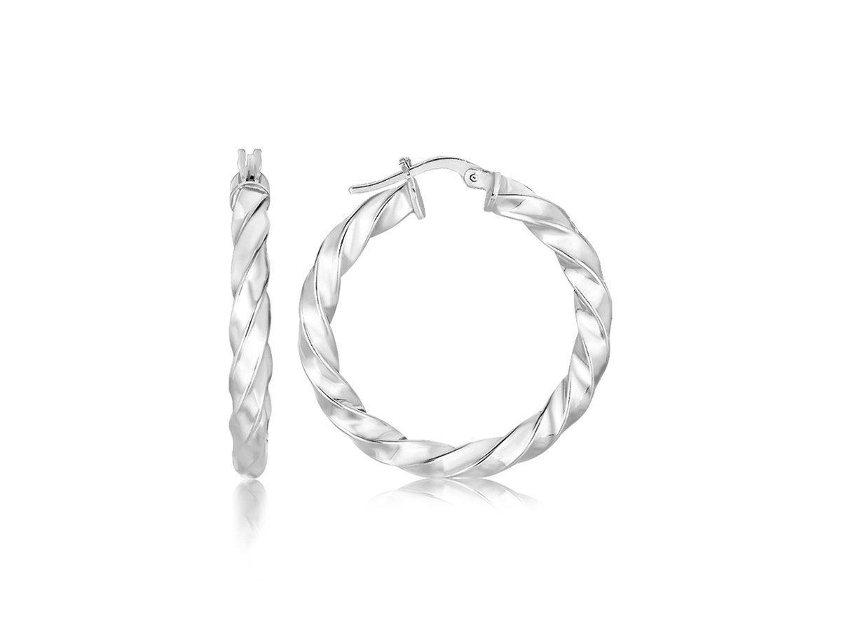 Polished Twisted Hoop Earrings in Sterling Silver