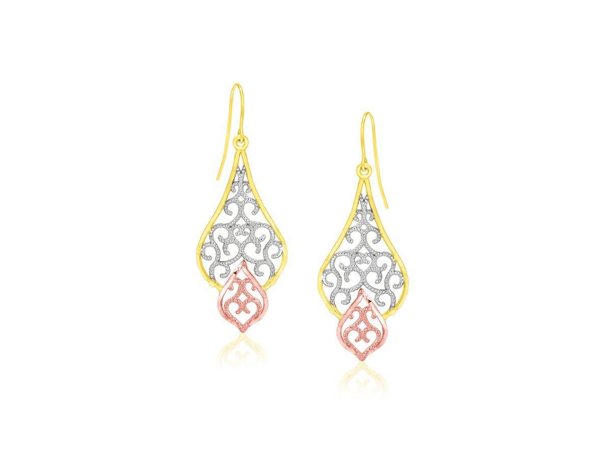 Fancy Filigree Style Drop Dangling Earrings in 10K Tri-Color Rose White Yellow Gold