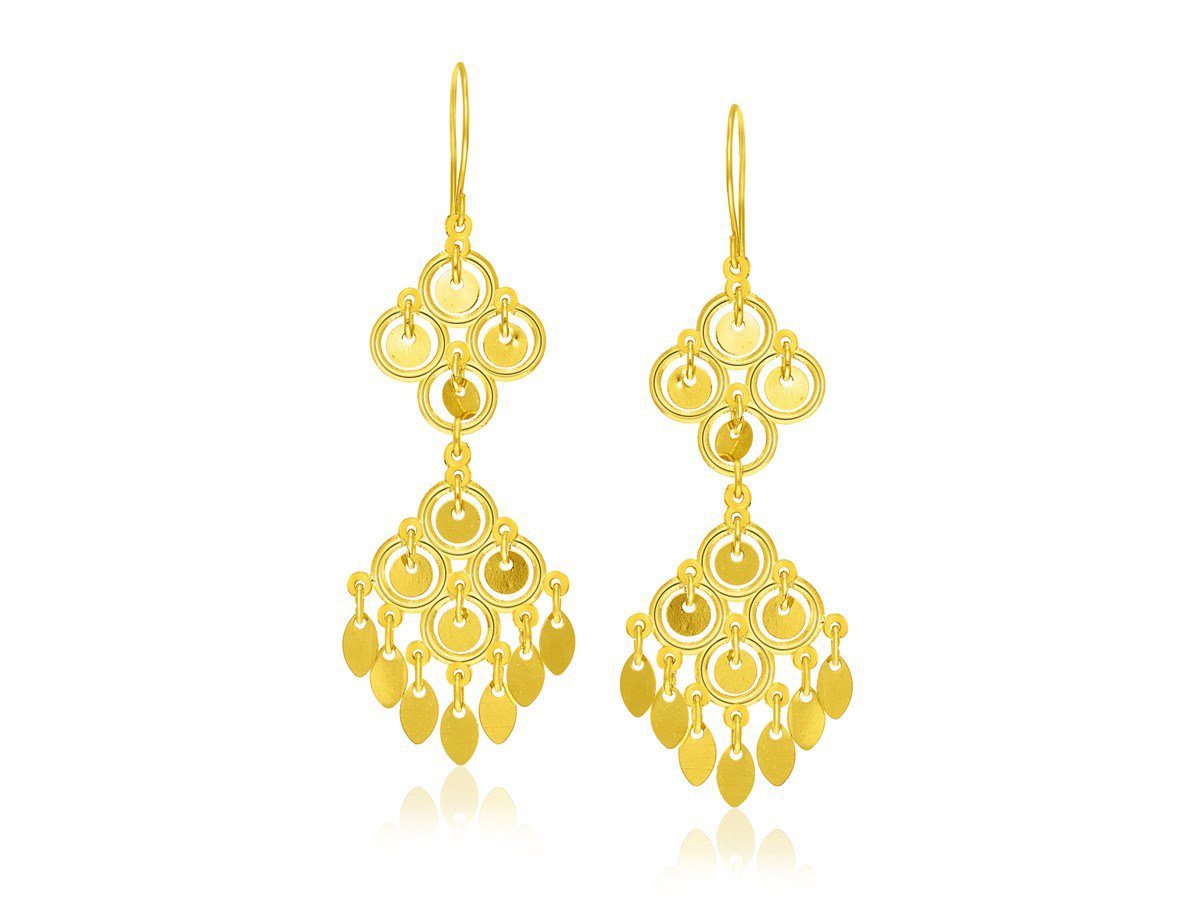 Circle and Marquise Sequin Cascading Earrings in 14K Yellow Gold