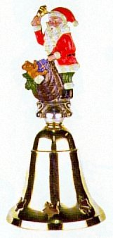 German Christmas Brass Bell with Pewter Santa Handle