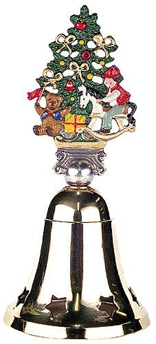 German Christmas Brass Bell with Pewter Christmas Tree