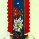 Small Edelweiss Cow Bell with Red Strap