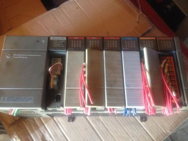 ALLEN-BRADLEY SLC 500 7-SLOT RACK #1746-A7 SER B FULL WITH CARDS