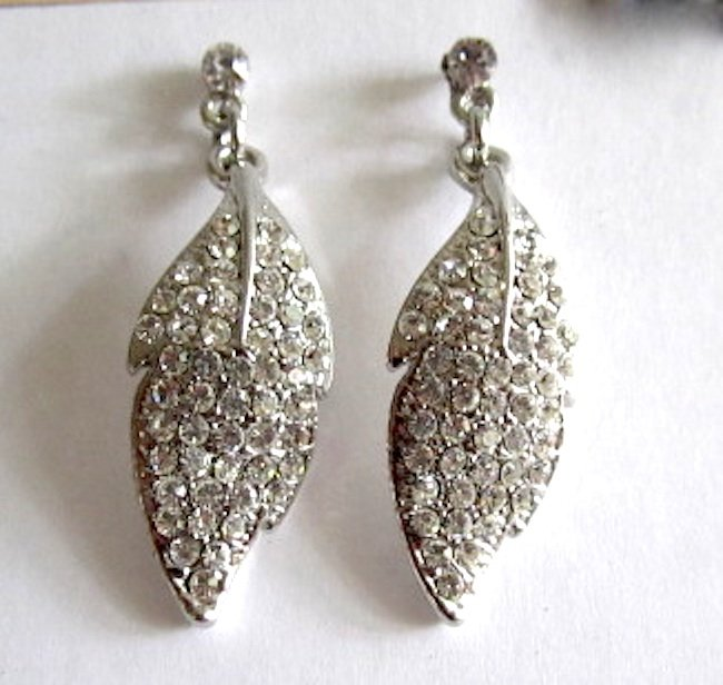 Dazzling Clear Crystal Leaf Design Bridal Earrings