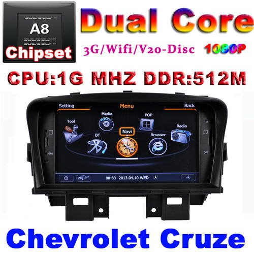 Chevrolet Cruze 2009-2012 GPS radio USB 1G CPU 3G Host S100  with actual USA 3D Map