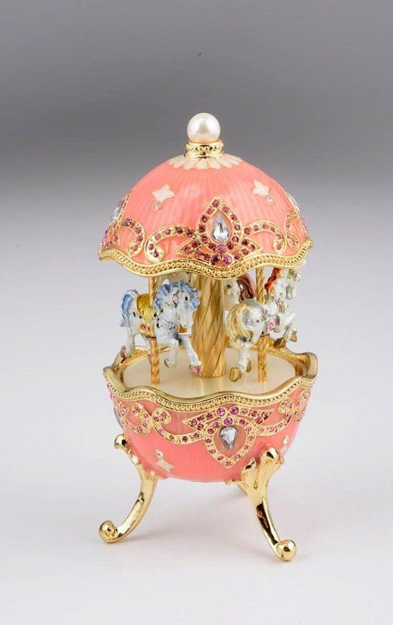 Pink Fabergé Style Egg w/ Horse Carousel