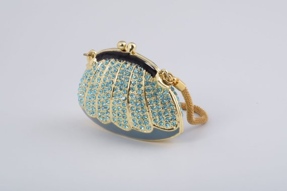 Golden Blue Woman Bag Fabergé Style
