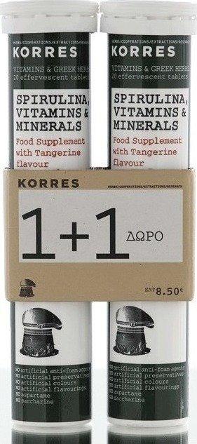 Korres Spirulina, Vitamins & Minerals Food Supplement (1+1 FREE)
